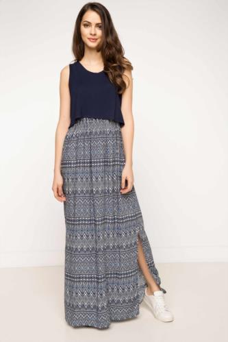 Lacivert Kadın Uzun Elbise