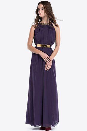 Yaka Sim Şeritli Violet Şifon Uzun Elbise